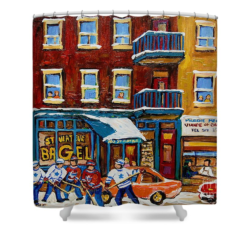 Montreal Shower Curtain featuring the painting Saint Viateur Bagel With Hockey by Carole Spandau
