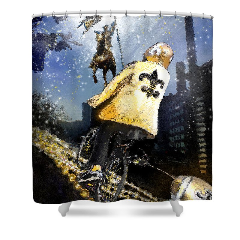 New Orleans Shower Curtain featuring the painting Saints Summit In New Orleans by Miki De Goodaboom