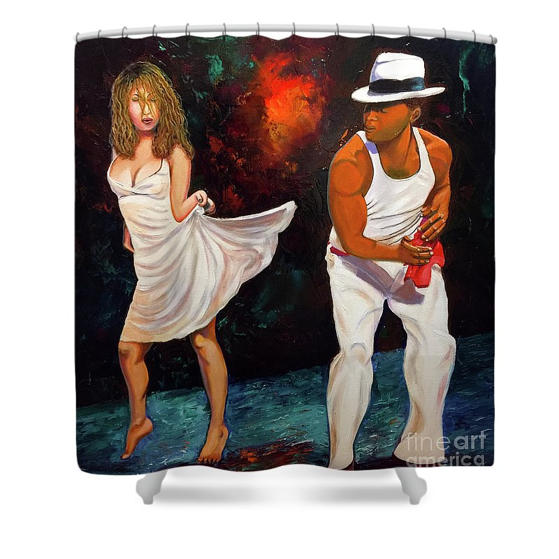 Dancing Cuba Painting Salsa Woman Shower Curtain featuring the painting Salsa 2 by Jose Manuel Abraham
