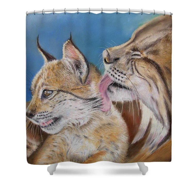 Iberian Lynx Shower Curtain featuring the painting Saliega Y Brezo by Ceci Watson