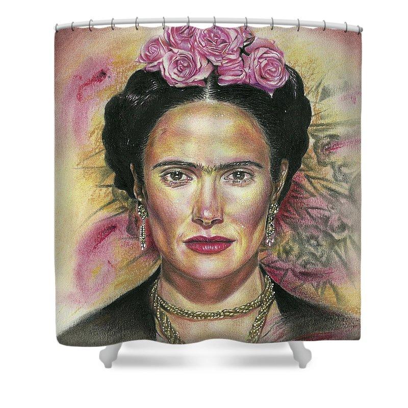 Frida Shower Curtain Featuring The Drawing Salma Hayek As Kahlo By Daniel Ayala
