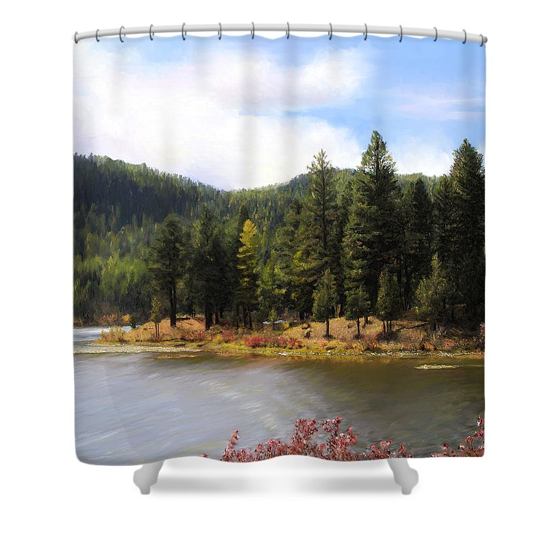 Salmon Lake Shower Curtain featuring the painting Salmon Lake Montana by Susan Kinney