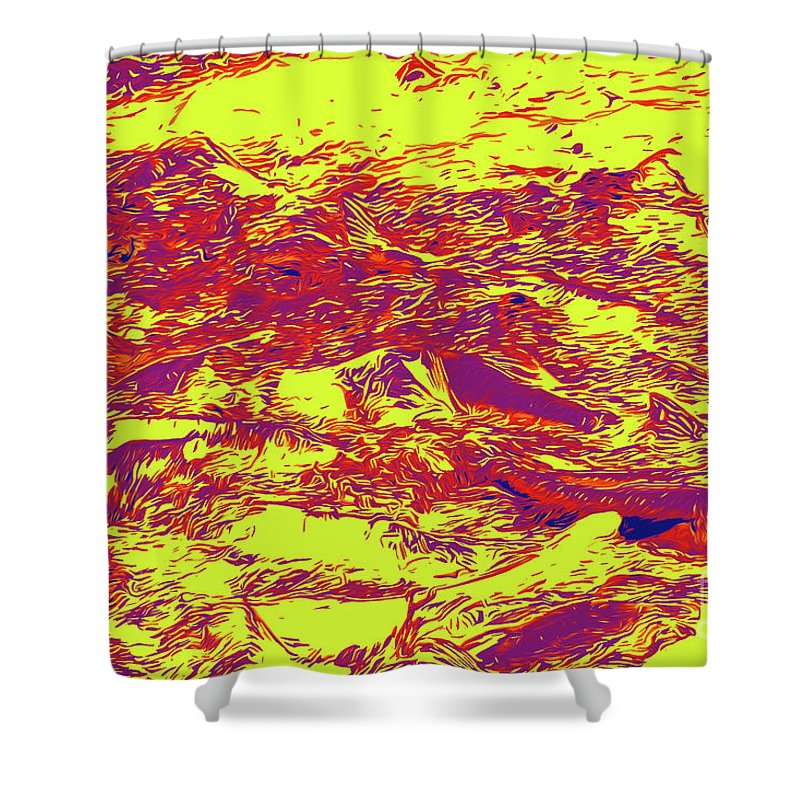 Salmon Run 6 Shower Curtain featuring the digital art Salmon Run 6 by Chris Taggart