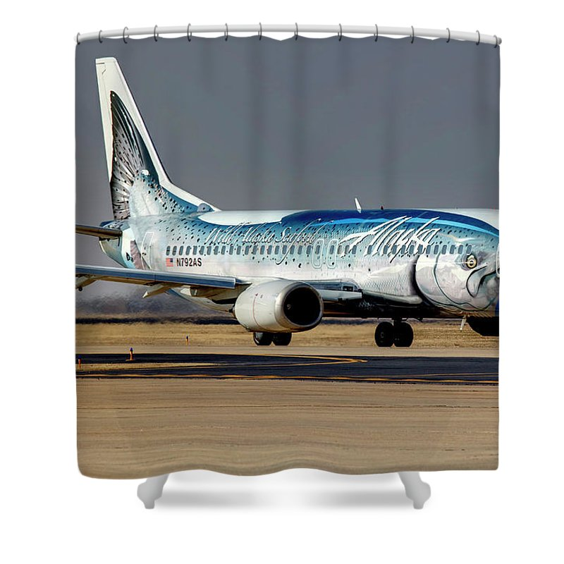 Boeing Shower Curtain featuring the photograph Salmon Thirty Salmon by Ricky Barnard