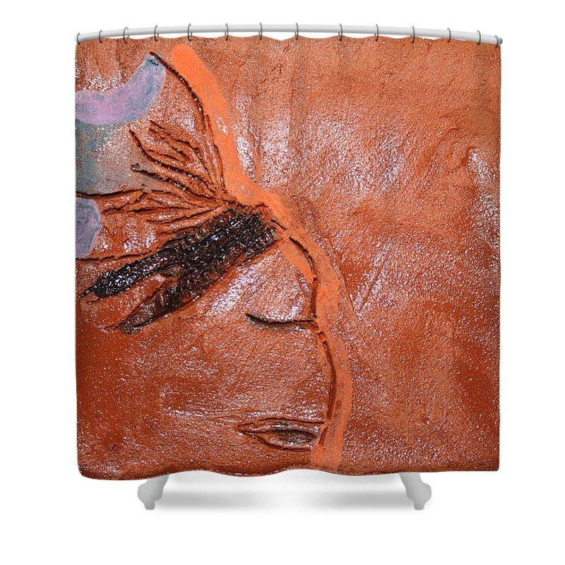 Jesus Shower Curtain featuring the ceramic art Salon - Tile by Gloria Ssali