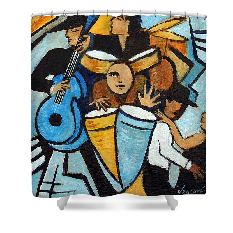 Cubist Salsa Dancers Shower Curtain featuring the painting Salsa Night by Valerie Vescovi