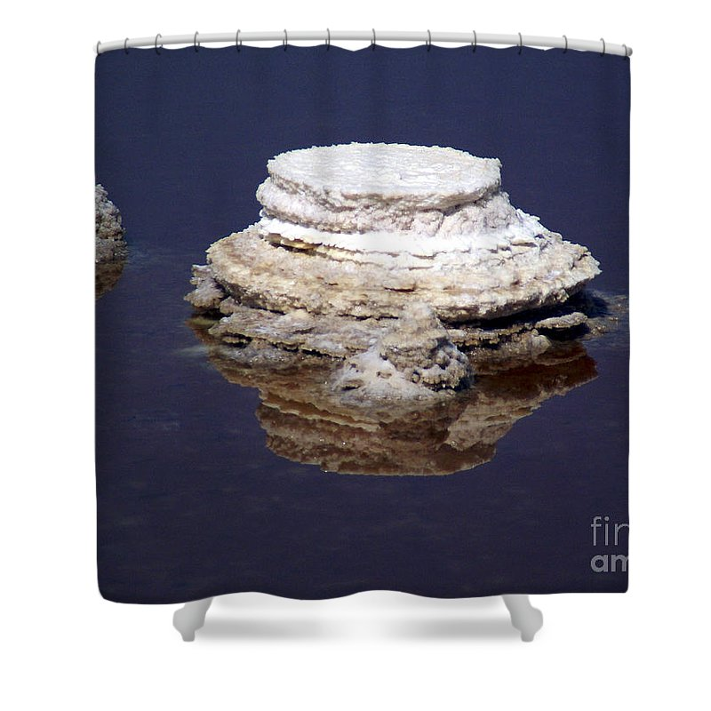 Salt; Formation Shower Curtain featuring the photograph salt cristal at the Dead Sea Israel by Avi Horovitz