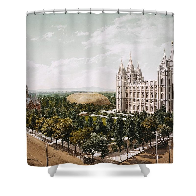 Temple-square-church-salt-lake-city Shower Curtain featuring the painting Salt Lake City by MotionAge Designs