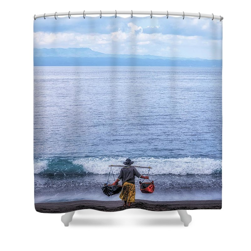 Pantai Belatung Shower Curtain featuring the photograph Salt Making - Bali by Joana Kruse