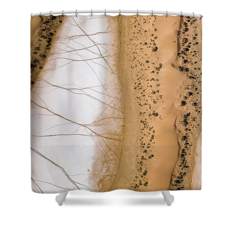 Africa Shower Curtain featuring the photograph Salt Pans Deep In The Kalahari With 4x4 by Michael Fay