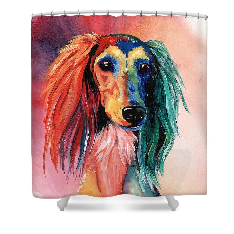 Saluki Shower Curtain featuring the painting Saluki Sunset by Kathleen Sepulveda
