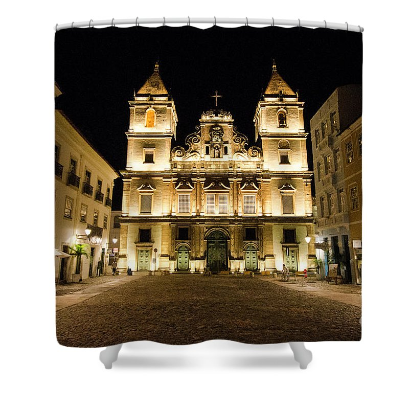 Salvador Brazil Shower Curtain featuring the photograph Salvador Brazil Night Scene by Bob Christopher