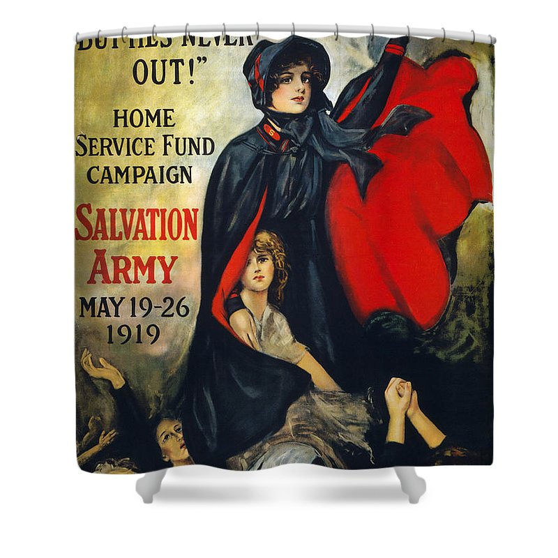 1919 Shower Curtain featuring the photograph Salvation Army Poster, 1919 by Granger