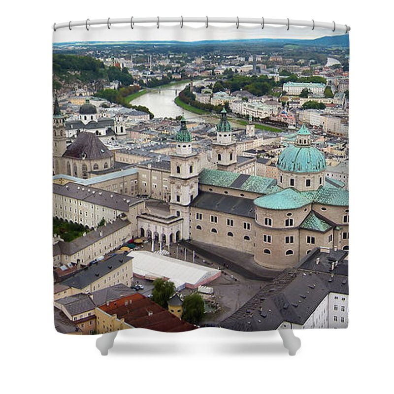 3scape Shower Curtain featuring the photograph Salzburg Panoramic by Adam Romanowicz
