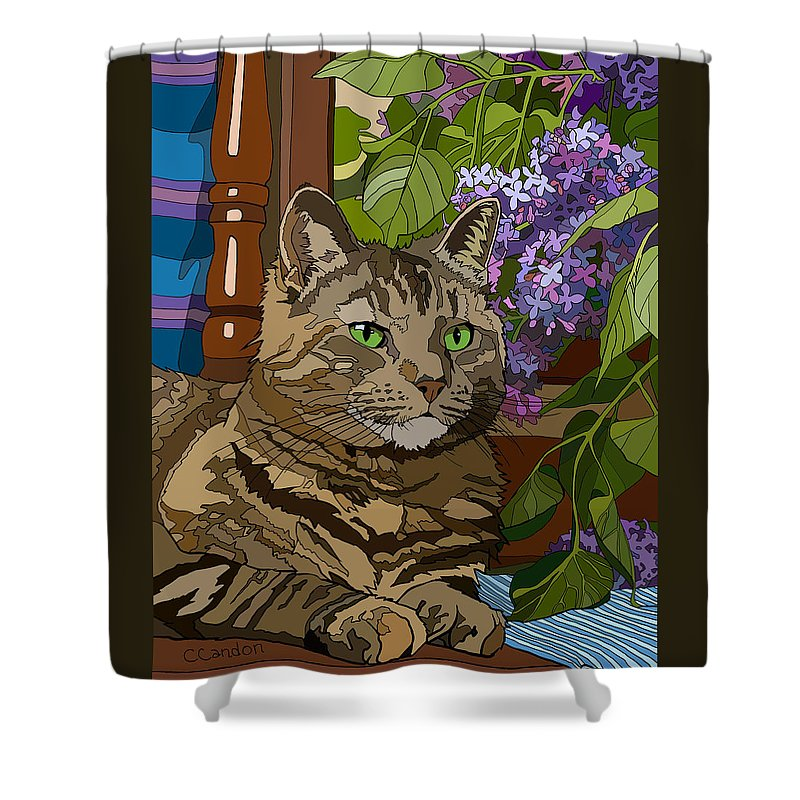 Cat Shower Curtain featuring the digital art Sam by Chantal Candon