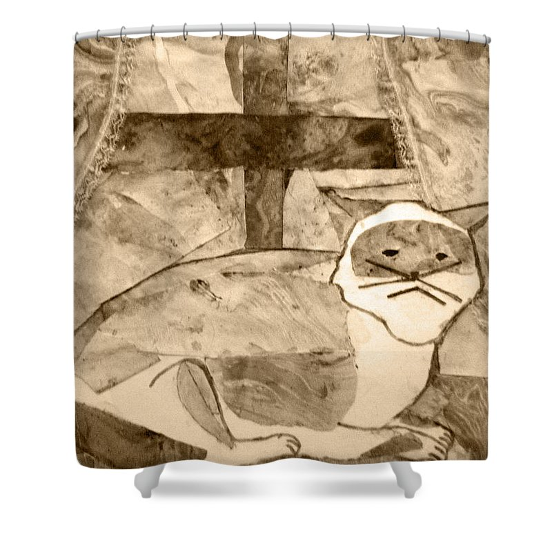 Abstract Shower Curtain featuring the mixed media Samantha by April Patterson