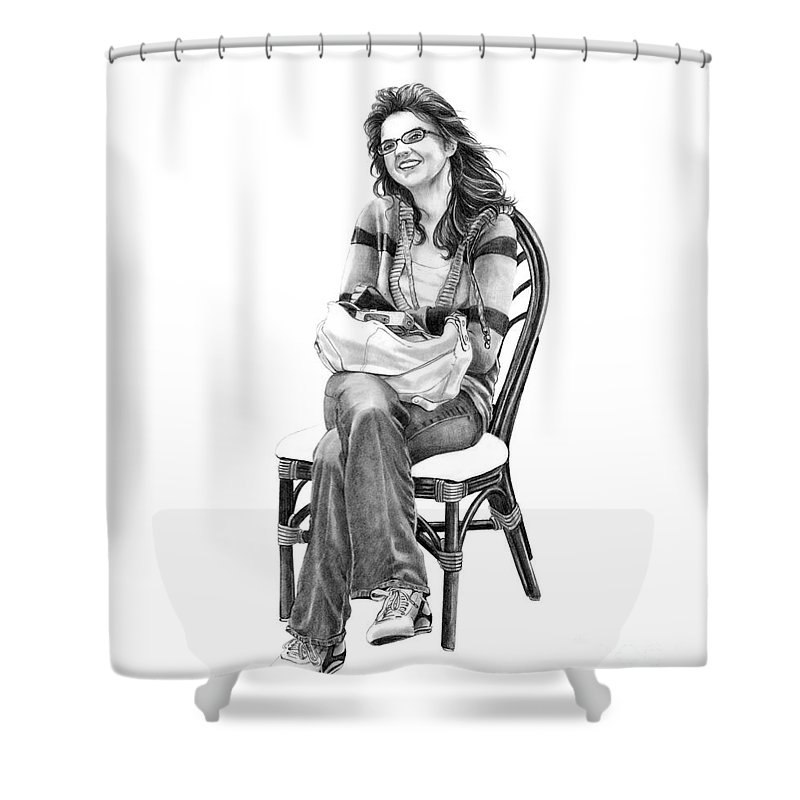 Figure Drawing Shower Curtain featuring the drawing Samantha Jonice Elliott by Murphy Elliott