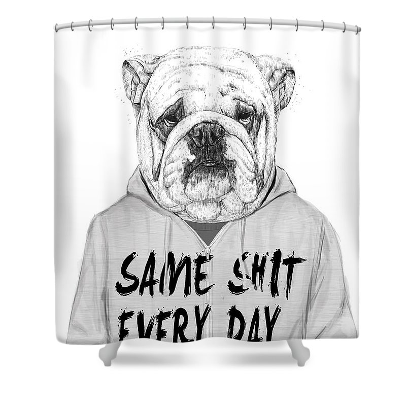 Dog Shower Curtain featuring the mixed media Same Shit... by Balazs Solti