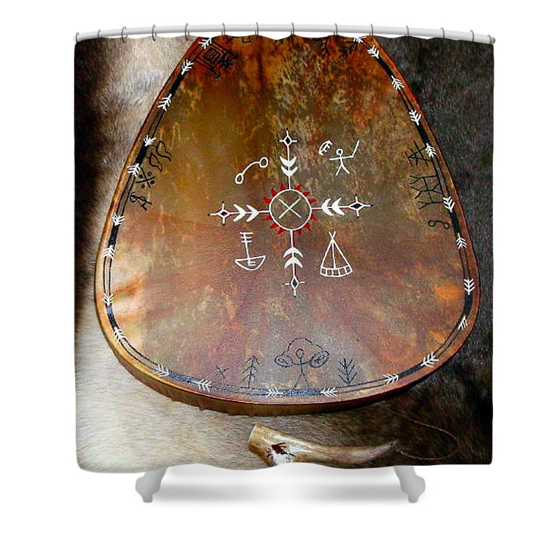 Saami Shower Curtain featuring the photograph Sami Shaman Drum by Merja Waters