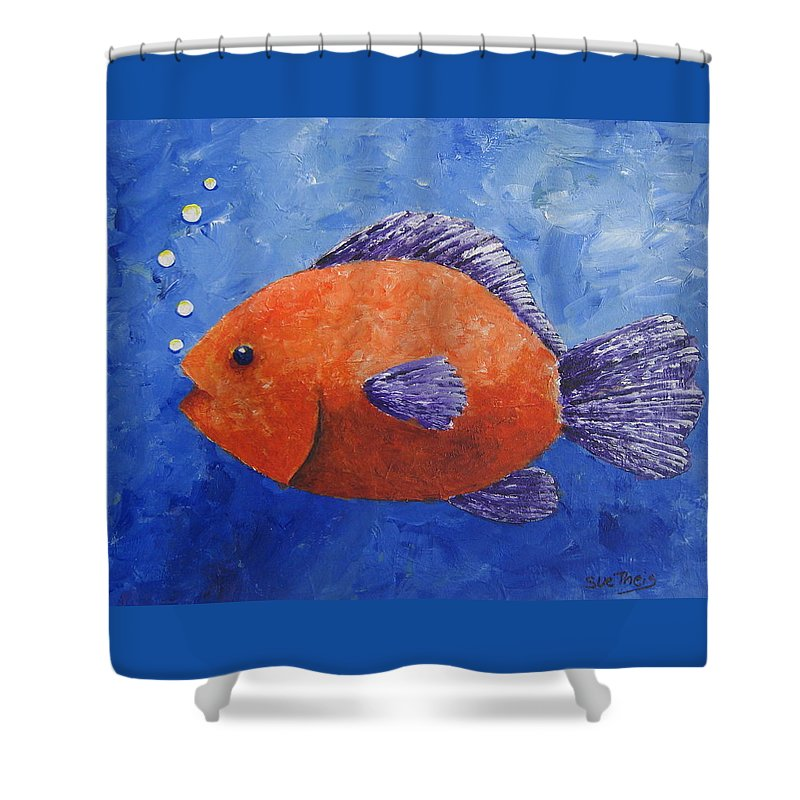 Fish Shower Curtain featuring the painting Sammy by Suzanne Theis