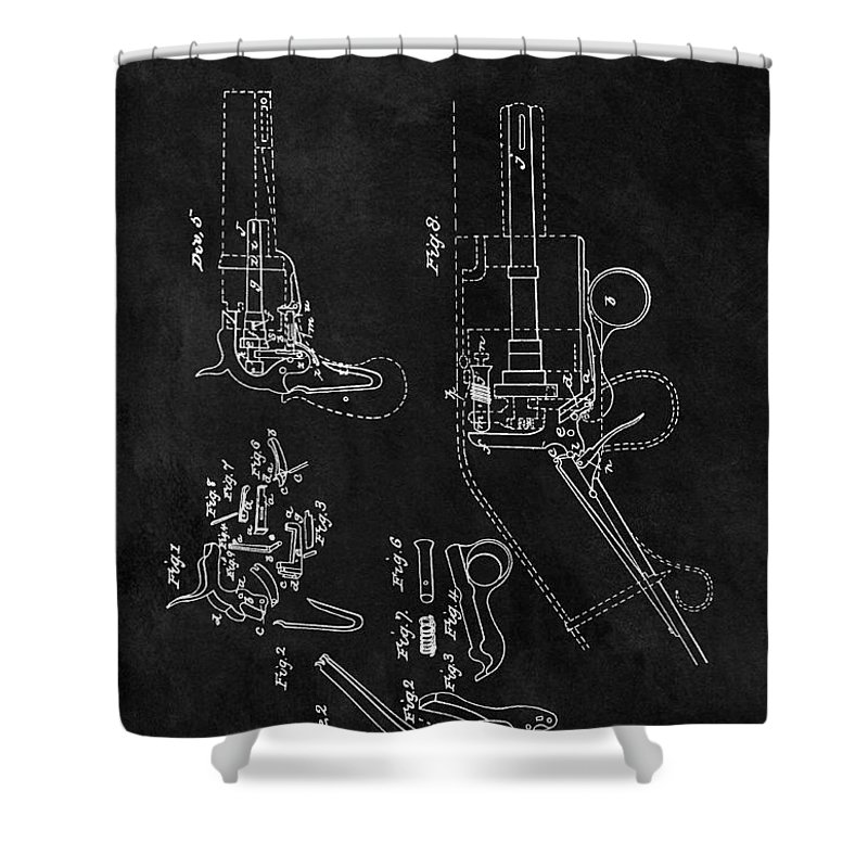 1836 Colt Revolver Patent Shower Curtain featuring the drawing Samuel Colt 1836 Revolver Patent by Dan Sproul
