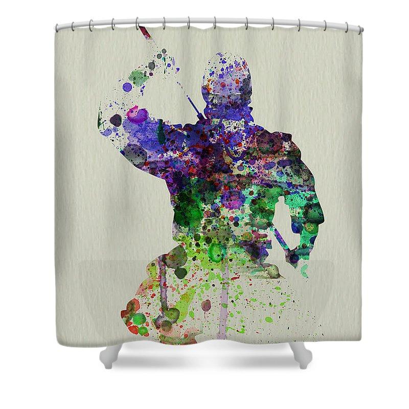 Ninja Shower Curtain featuring the painting Samurai by Naxart Studio