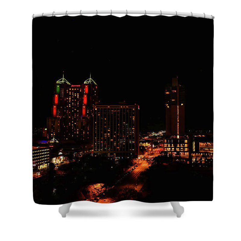 San Antonio Shower Curtain featuring the photograph San Antonio Night by Judy Vincent