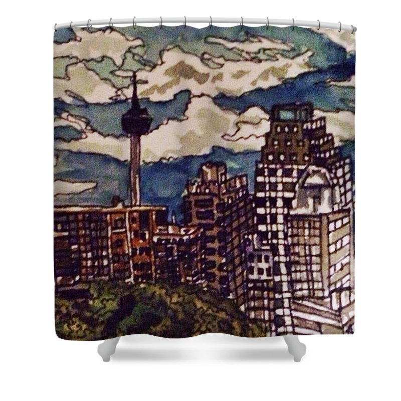 Cityscape Shower Curtain featuring the painting San Antonio Skyline by Angela Weddle