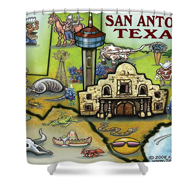 San Antonio Shower Curtain featuring the digital art San Antonio Texas by Kevin Middleton