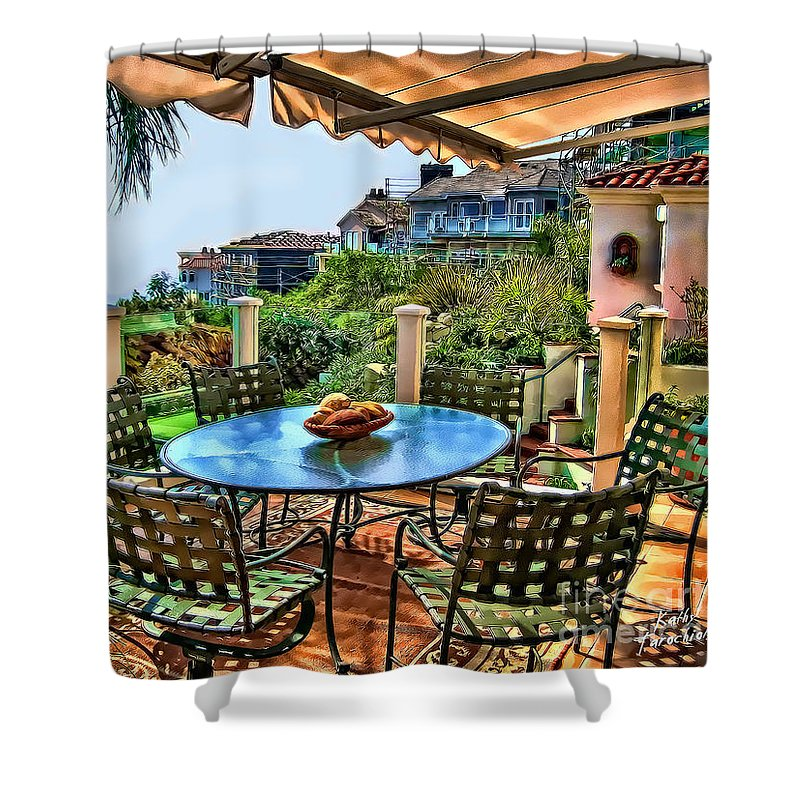 San Clemente Shower Curtain featuring the digital art San Clemente Estate Patio by Kathy Tarochione