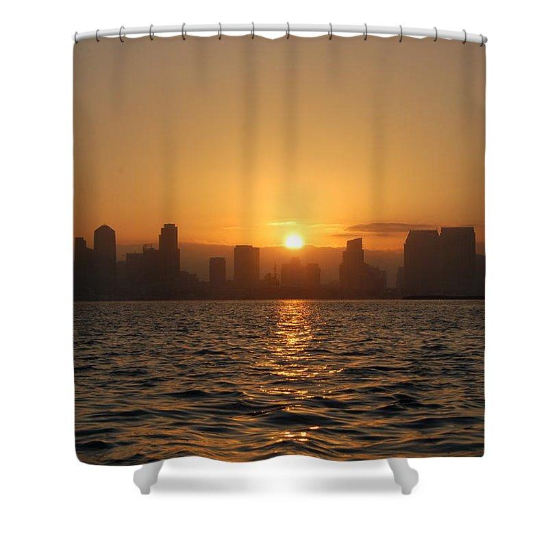 San Diego Bay Sunrise Shower Curtain featuring the photograph San Diego Bay Sunrise by Christine Owens