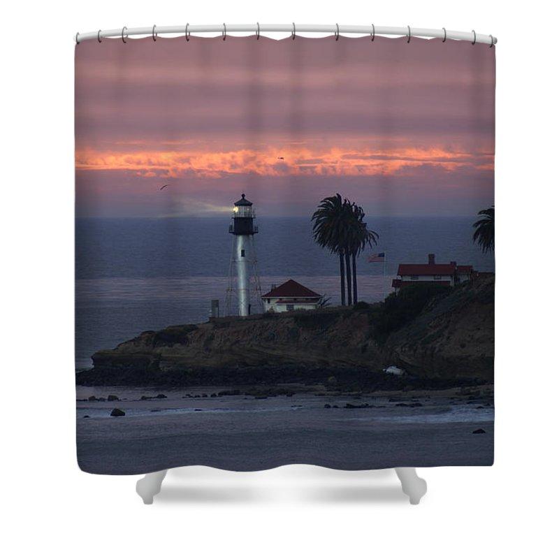 San Deigo Shower Curtain featuring the photograph San Diego Lighthouse by Heather Coen