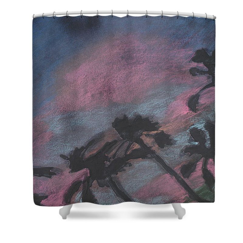 Contemporary Tree Landscapes Shower Curtain featuring the drawing San Diego Palms by Leah Tomaino