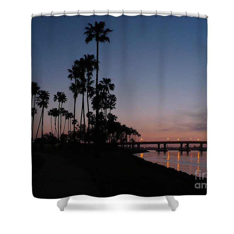 Sunset Shower Curtain featuring the photograph San Diego Sunset With Palm Trees by Carol Groenen