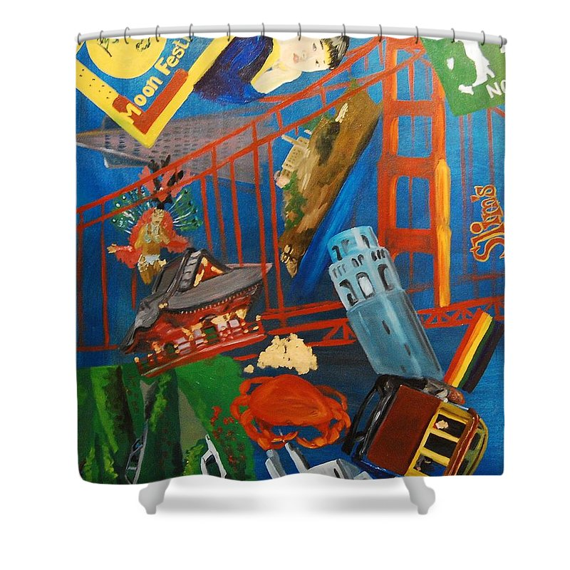 Golden Gate Bridge Shower Curtain featuring the painting San Fran by Lauren Luna