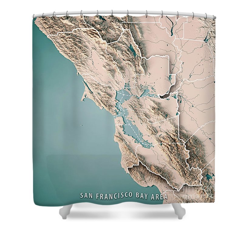 San Francisco Bay Area Usa 3d Render Topographic Map Neutral Shower ...