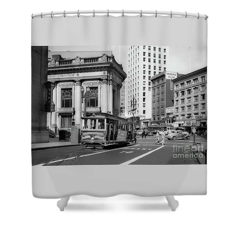 O'farrell At Market Street Shower Curtain featuring the photograph San Francisco Cable Car During Wwii by Wernher Krutein