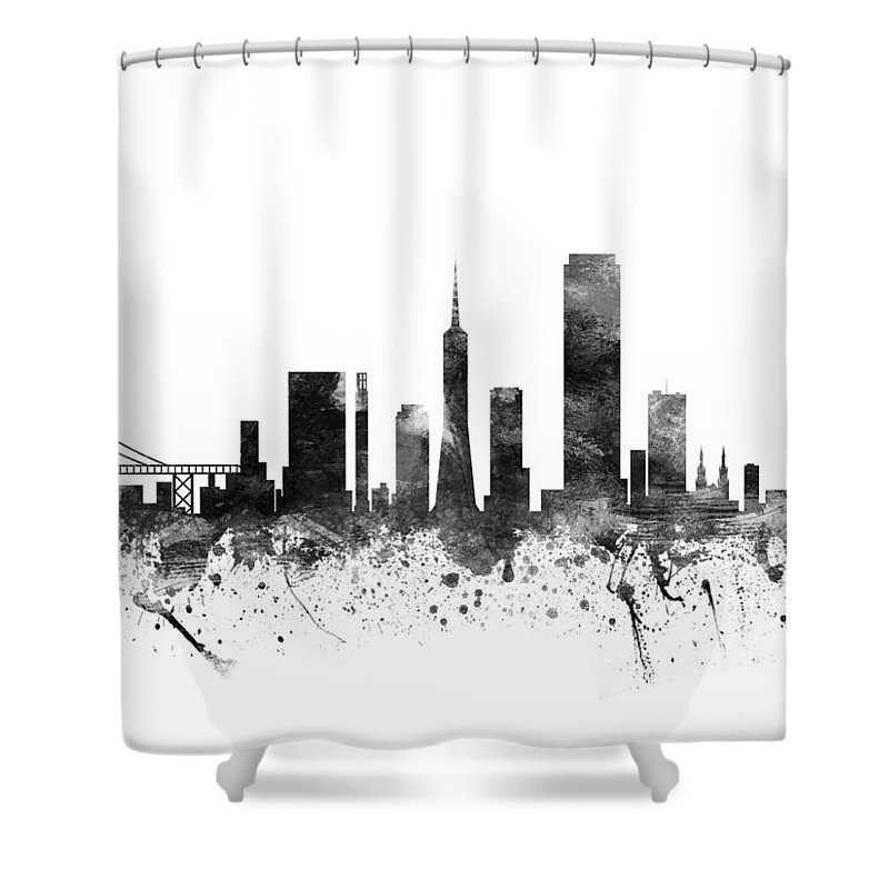 San Francisco Shower Curtain featuring the digital art San Francisco  California Cityscape 02bw by Aged Pixel