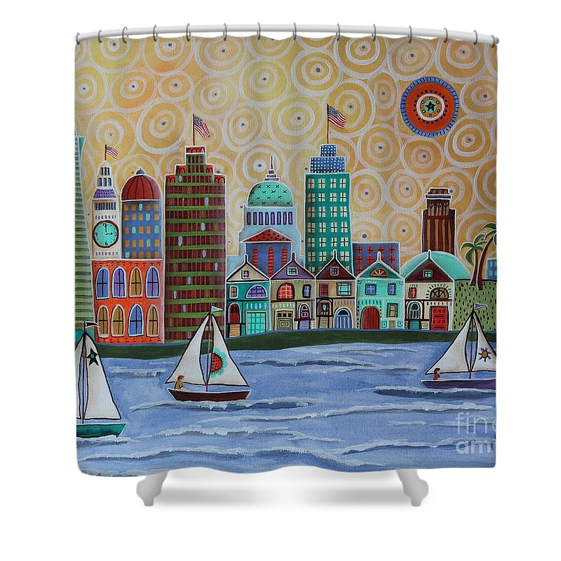 Landscape Shower Curtain Featuring The Painting San Francisco By Karla Gerard