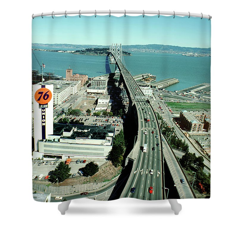 San Francisco Oakland Bay Bridge Shower Curtain Featuring The Photograph And