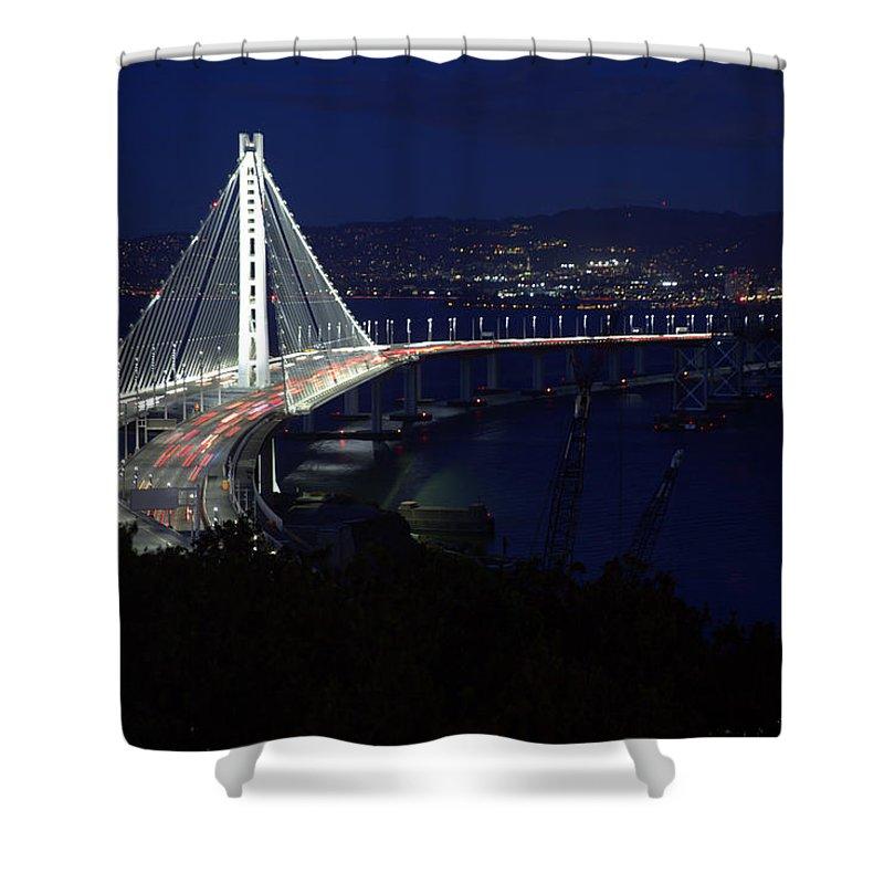 Bay Bridge Shower Curtain featuring the photograph San Francisco Oakland Bay Bridge by John King