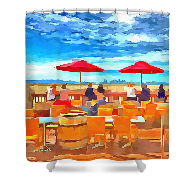 Acrylic Painting Shower Curtain featuring the mixed media San Francisco Skyline From Alameda by Linda Weinstock