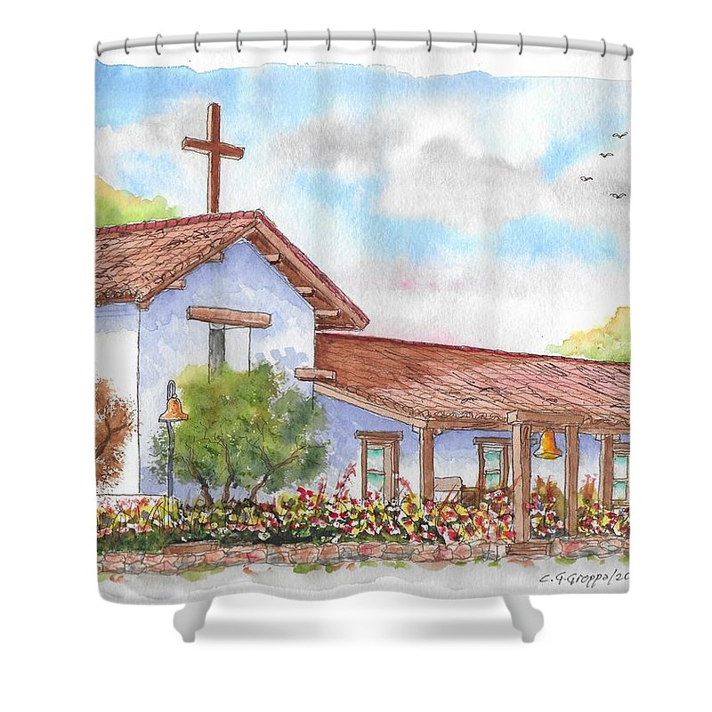 San Francisco Solano Mission Shower Curtain Featuring The Painting Sonoma