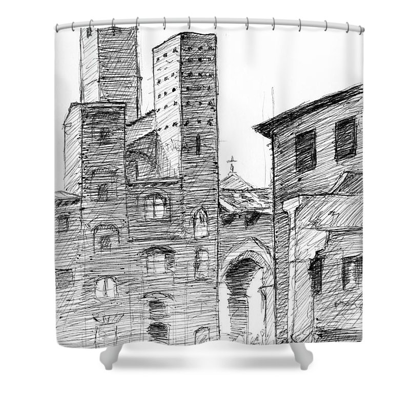 San Gimignano Towers In Italy Pen And Ink Drawing Shower Curtain