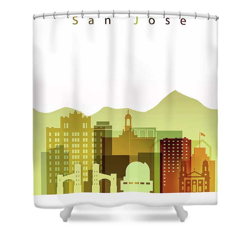 San Jose Shower Curtain featuring the painting San Jose Skyline by Dim Dom