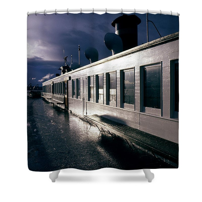 Scenic Shower Curtain featuring the photograph San Juan Islands Ferry by Lee Santa