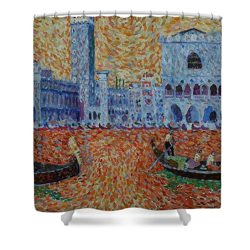 San Marco Shower Curtain featuring the painting San Marco by John A B Lansdown