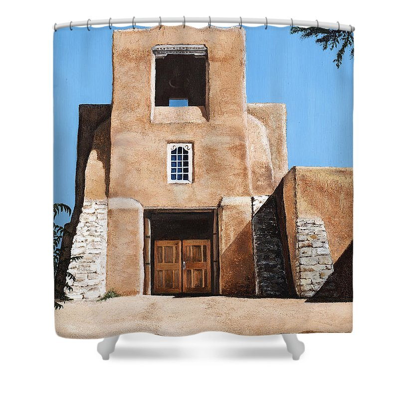 Art Shower Curtain featuring the painting San Miguel by Mary Rogers