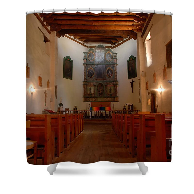San Miguel Mission Shower Curtain featuring the photograph San Miguel Mission Church by David Lee Thompson