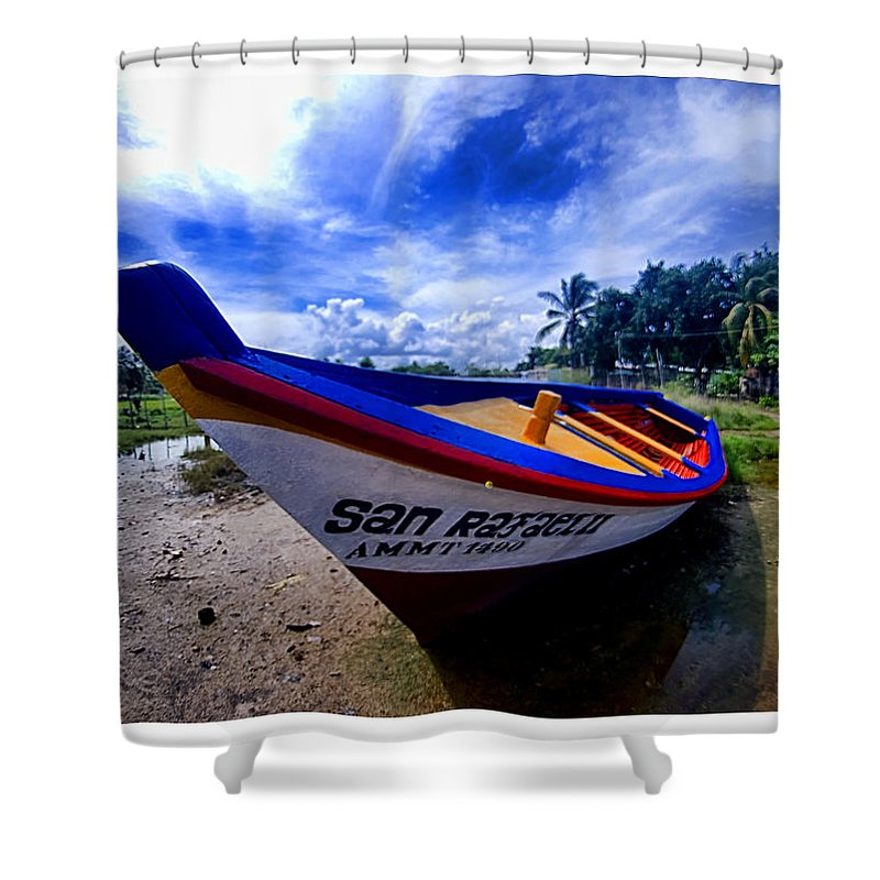 Fish Boat Shower Curtain featuring the photograph San Rafael by Galeria Trompiz